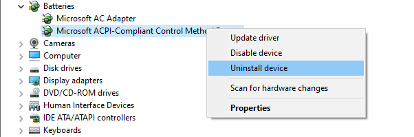 Uninstall battery drivers
