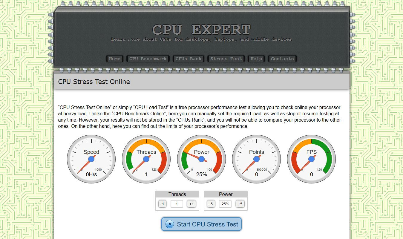 CPU X - Stress Test online