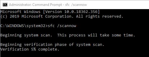 repair broken registry items sfc command