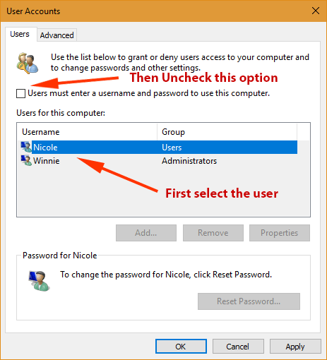 enable auto-login on Windows 10