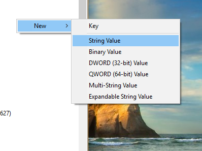 Select New then String Value