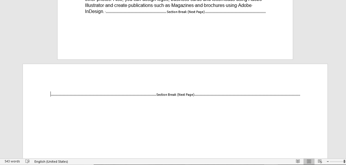 one page landscape in Word
