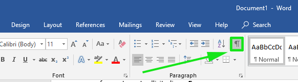 Click on show-or-hide-paragraphs