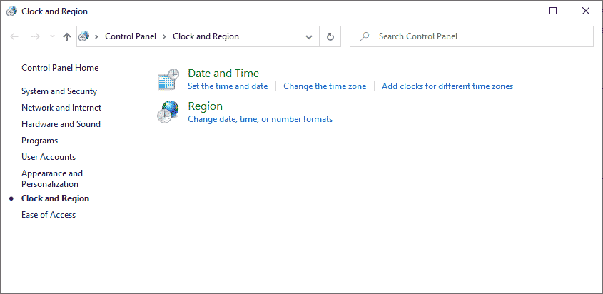 Clock and Regional Settings
