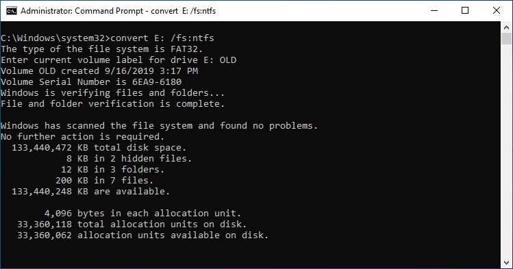 FAT32 to NTFS Command Prompt Conversion