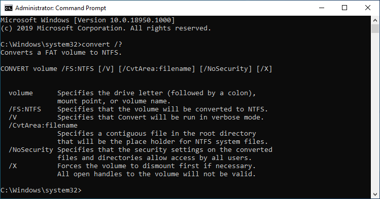 Command Prompt for FAT32 Conversion