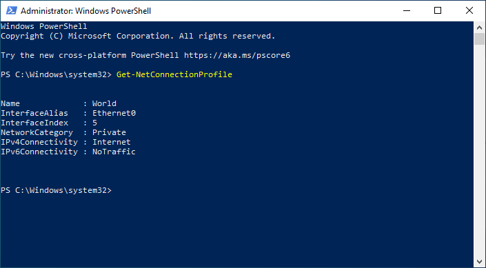 powershell connection profile