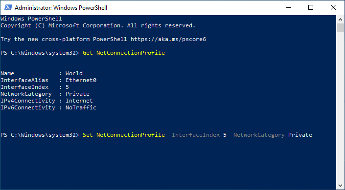 powershell set profile