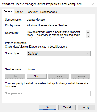 Windows service license manager