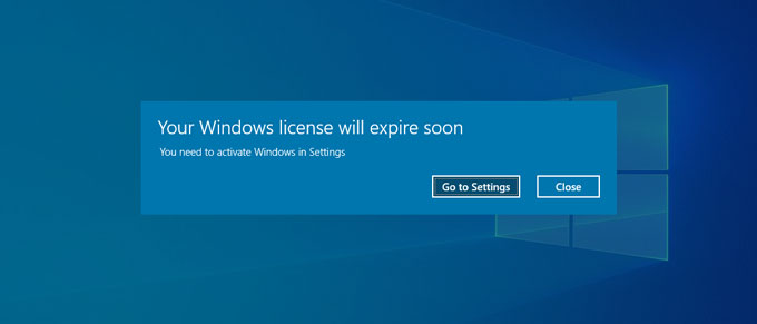 Windows License will Expire soon