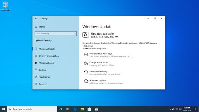 windows 10 update pane