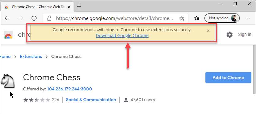 Chrome's Warning on Edge