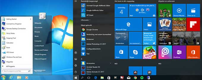Start Menu Comparison Windows 7 vs Windows 10