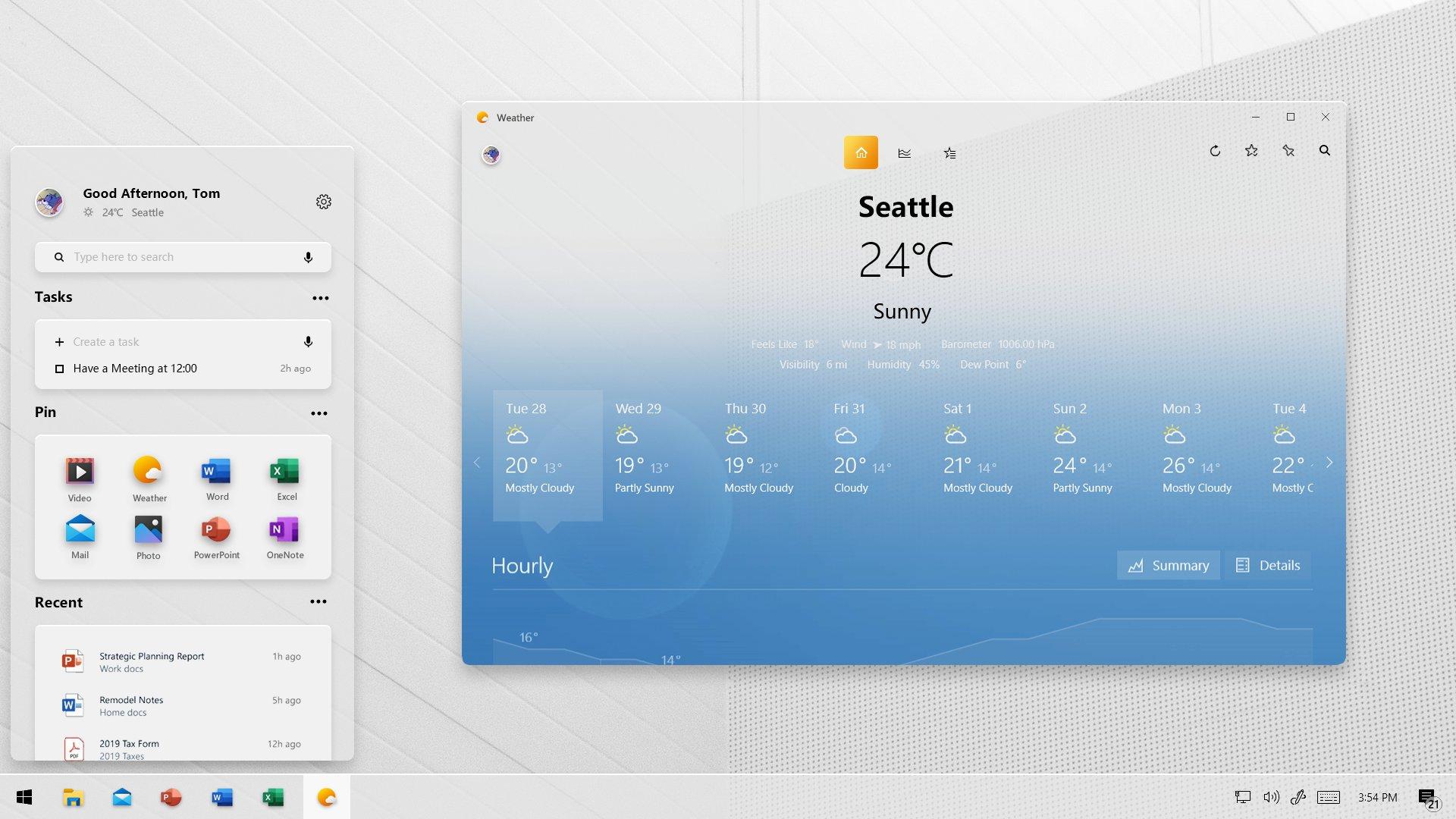 Windows 10 Concept Art Weather App