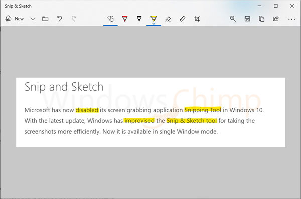 Snip and Sketch Tool Improvement in New Update
