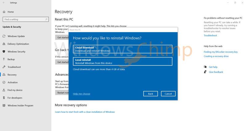 Windows 10 2004 Cloud Download while Repair