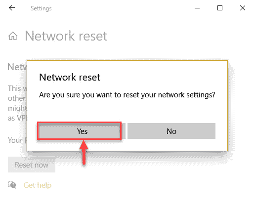 Confirm Network Reset
