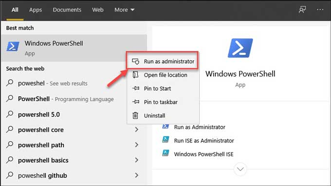 PowerShell Run as Admin