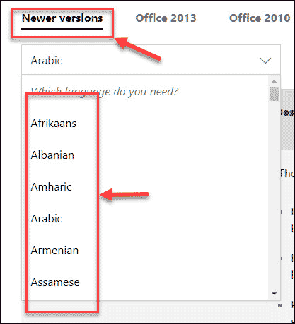 Select Desired Version and Language