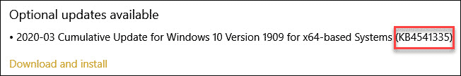 Windows Update KB Number