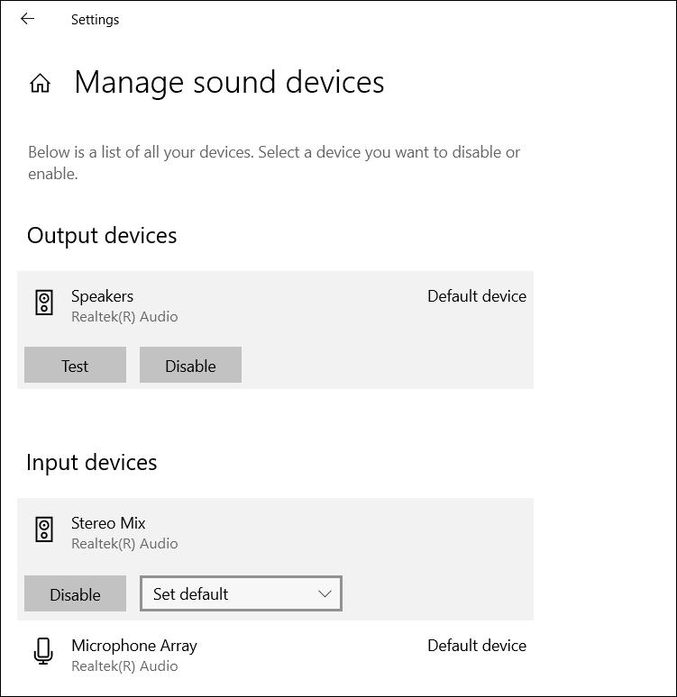 Default Sound Devices