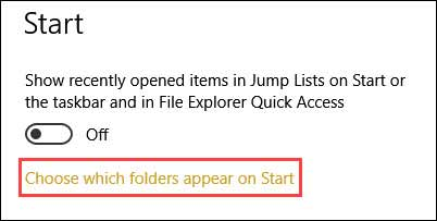 Choose which folders appear on Start