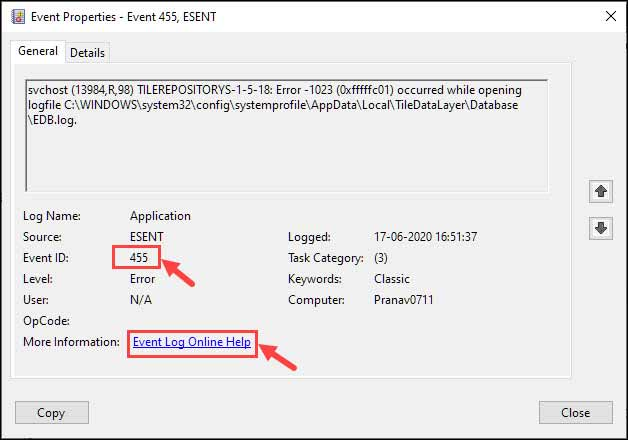 Event Properties in Windows 10