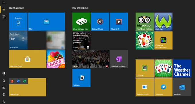 Full Screen Start Menu