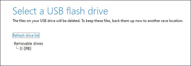 Select the USB Drive