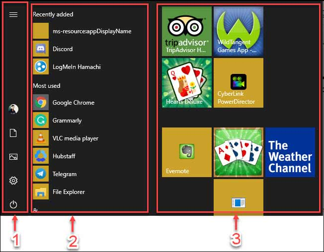 Start Menu Layout