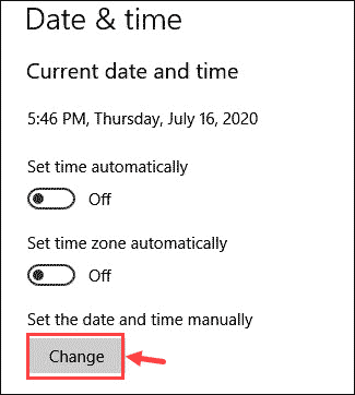Change date time