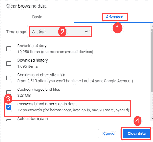 Clear all passwords