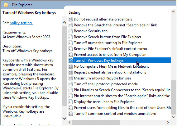 Turn off Windows Key hotkeys
