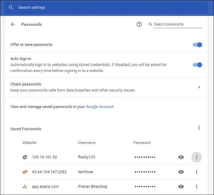 password settings
