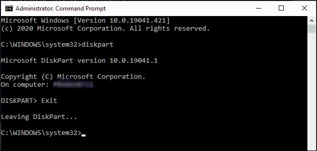 Exit DiskPart