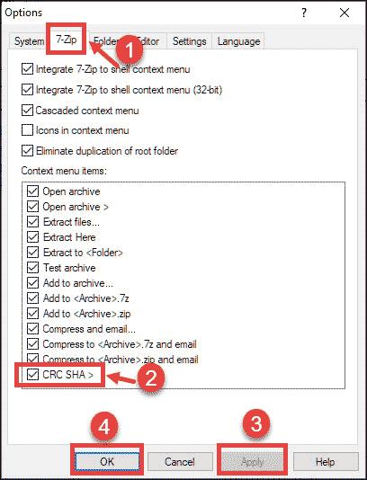 Uncheck CRC SHA option