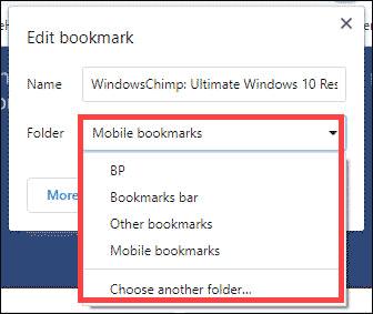 choose folder to add bookmark