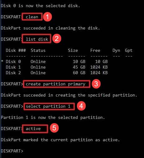 create a new partition using diskpart
