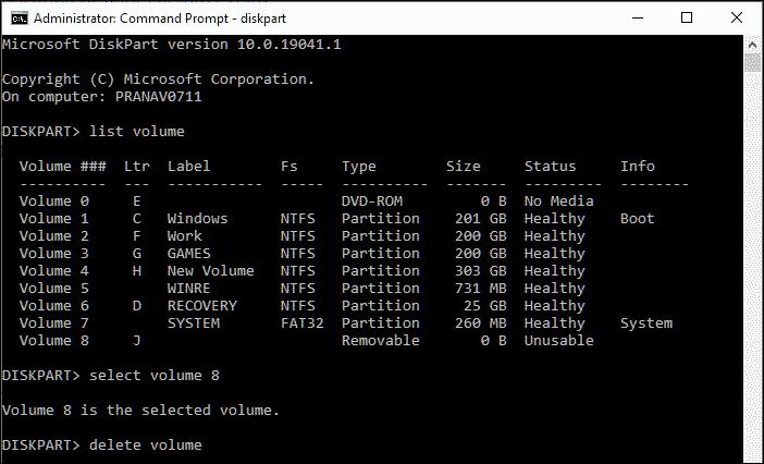 Delete volume using DiskPart
