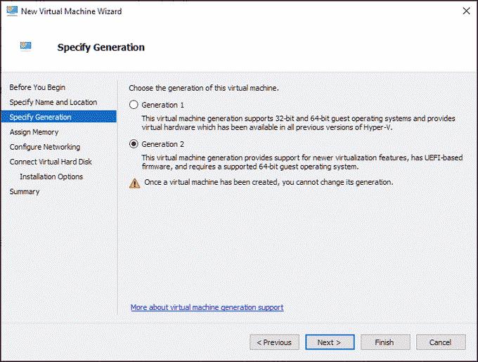 specify VM generation