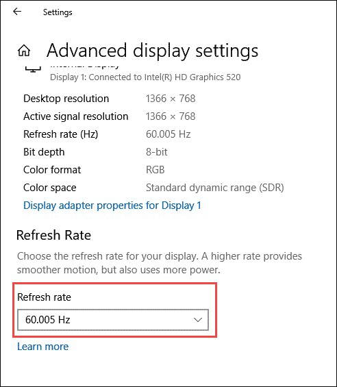 Change Refresh Rate