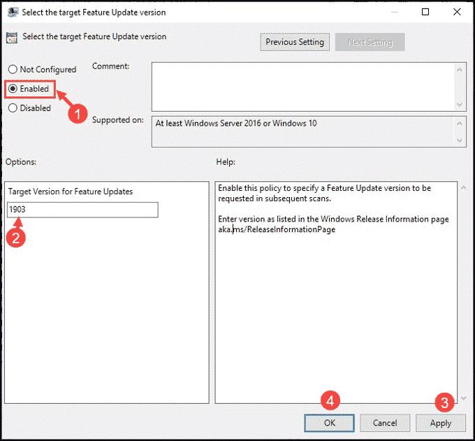 Configure target feature update