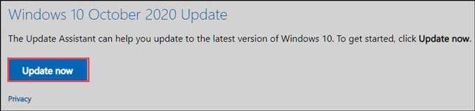 Update to Windows 10 20H2