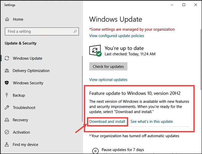 windows 10 20H2 is available