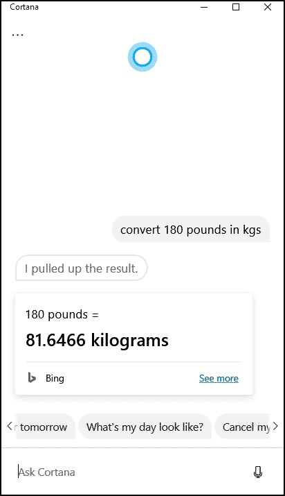Cortana weight conversion