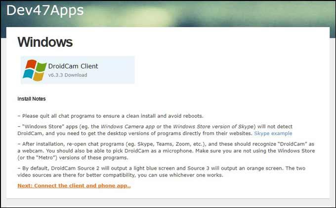 DroidCam Windows 10 Client