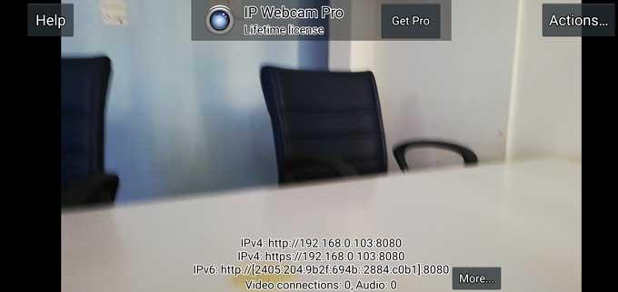 IP Webcam app started