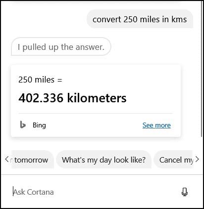 cortana distance conversion