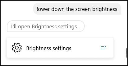 cortana lower screen brightness