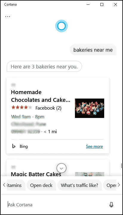 search for restaurant and bakeries